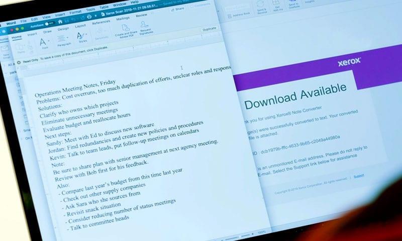 Notizkonverter-Anwendung Tablet-Bildschirm
